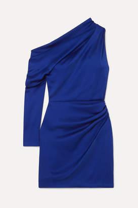 Cushnie Asymmetric Hammered-satin Mini Dress - Indigo