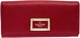 Valentino Red Leather Continental Wallet