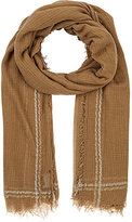 Barneys New York WOMEN'S STRIPED-BORDER GAUZE SCARF