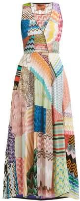 Missoni Zigzag Patchwork Silk Blend Dress - Womens - Pink Multi