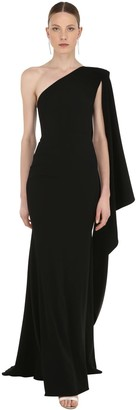 Alex Perry One Shoulder Long Crepe Dress