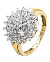 Fashion World 9 Carat Gold 1ct Diamond Cluster Ring
