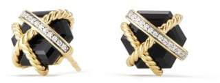 David Yurman Cable Wrap Earrings With Black Onyx And Diamonds In 18K