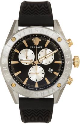 Versace Silver and Black V-Chrono Watch