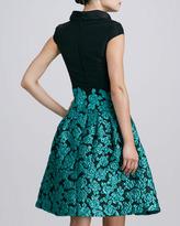 Oscar de la Renta Floral-Embroidered Cap-Sleeve Dress, Black/Teal