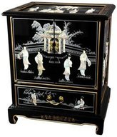 Oriental Furniture Fine Asian 24-Inch Chinese End Table with Mother of Pearl Ladies