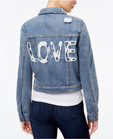 Tinseltown Juniors' Love Patch Ripped Denim Jacket