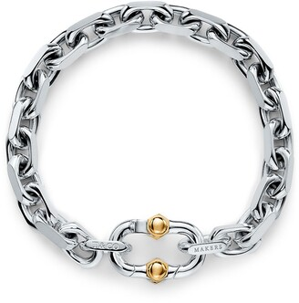 Tiffany & Co. 1837TM Makers wide chain bracelet in sterling silver and 18k gold, small