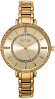 SO & CO Ny Women'S Soho Gold Stainless Steel Thin Bracelet Crystal Filled Bezel Dress Quartz Watch J155P43