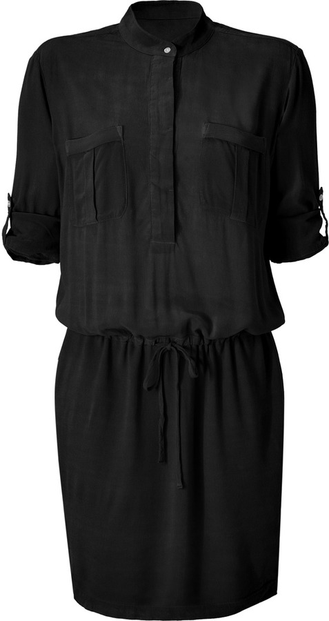 James Perse Black Half Placket Crepe Utility Dress