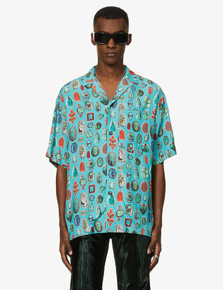 Palm Angels Graphic-print boxy-fit woven shirt