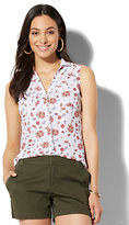 New York & Co. Soho Soft Shirt - Sleeveless - Floral & Paisley Print