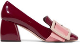 Miu Miu Buckled Patent-leather Pumps - Burgundy