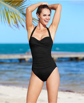 LaBlanca La Blanca Ruched Twist-Front One-Piece Swimsuit