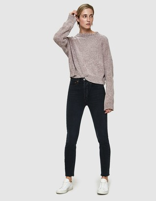 RE/DONE Women's Originals High Rise Ankle Crop Jean in Worn Black, Size 29