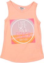 DKNY Neon Peach 'Life Is A Beach' Tanklol - Toddler & Girls