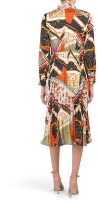 Tie Neck Mixed Print Shirt Dress