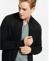 Express plaited zip-up faux suede baseball jacket