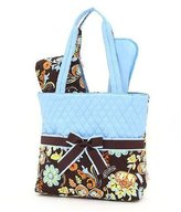 J Quilted Floral Pattern 3 PC Diaper Bag (BRTQ)