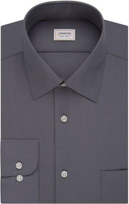 Arrow Men's Poplin Athletic Fit Solid Spread Collar Dress Shirt
