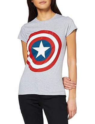 Marvel Women's Avengers Captain America Distressed Shield T-Shirt,8 (Size:S)