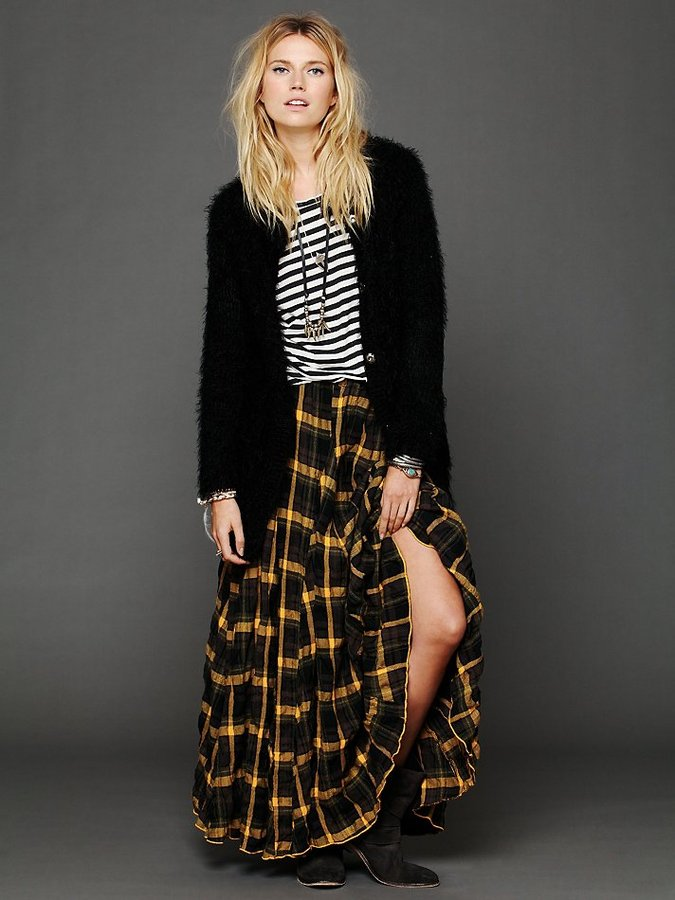 Free People CP Shades Plaid Flannel Maxi Skirt
