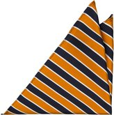 Notch Men's Silk Pocket Square - HAWK - Stripes in navy, bright orange and white
