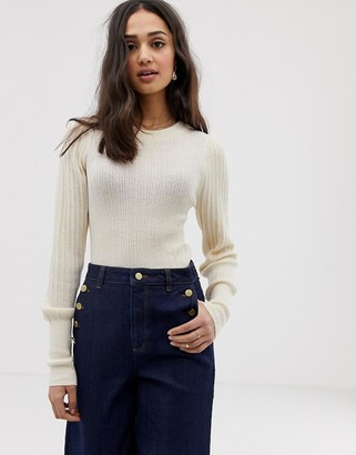 Asos Design DESIGN rib knit jumper in natural look yarn-Stone