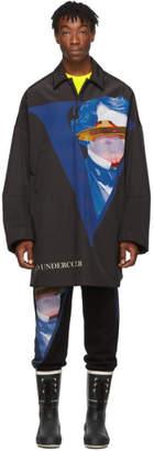 Undercover Black Valentino Edition V Face UFO Print Coat