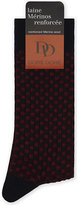 Dore Dore Dore Mens Red/Navy Luxury Ribbed Checkerboard Wool-Blend Socks