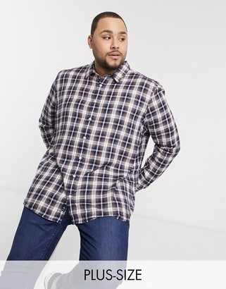 Burton Menswear Big & Tall checked shirt in navy and ecru