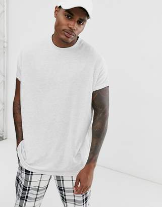 Asos Design DESIGN oversized longline t-shirt with crew neck and roll sleeve in white marl