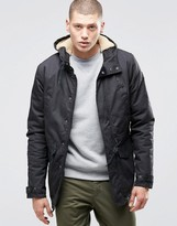Element Roghan Waxed Long Parka Black With Quilted Lining