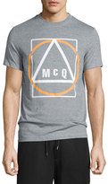 McQ by Alexander McQueen Logo-Print Short-Sleeve T-Shirt, Gray Mouline