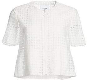 Akris Punto Women's Short-Sleeve Lace Zip-Up Jacket