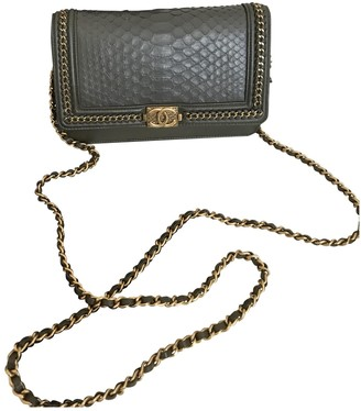 Chanel Wallet on Chain Grey Leather Handbags