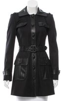 Rachel Zoe Leather-Paneled Trench Coat