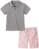 Nautica Boys' Casual Shorts ASSORTED - Gray Heather Logo Polo & Pink Whale Shorts - Infant, Toddler & Boys