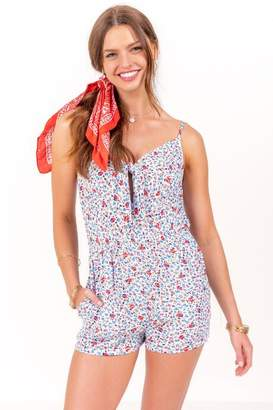 Avalon Apparel Group, Llc Natalie Floral Front Tie Romper - White
