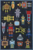 Momeni Rugs LMOJULMJ-1STB3050 Lil' Mo Whimsy Collection, Kids Themed Hand Carved & Tufted Area Rug, 3' x 5', Robot