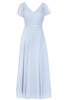 Quiz Pale Blue Chiffon V Neck Maxi Dress