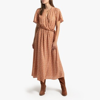 La Redoute Collections Wrapover Midi Dress in Floral Print with Long Sleeves