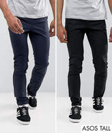 Asos TALL 2 Pack Skinny Chinos In Black & Navy SAVE