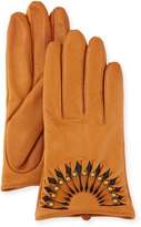 Neiman Marcus Studded Leather Short Gloves, Tan/Brown