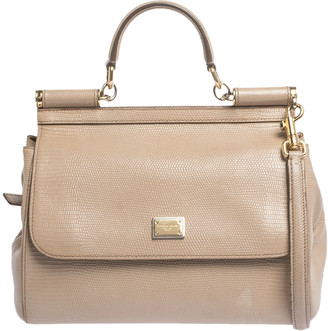 Dolce & Gabbana Beige Lizard Embossed Leather Medium Miss Sicily Top Handle Bag
