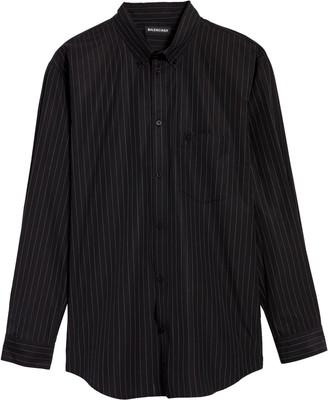 Balenciaga Logo Back Pinstripe Button-Down Shirt