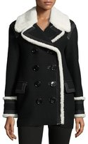 Burberry Coltsmeade Shearling Fur-Trim Peacoat