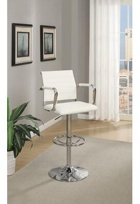 Orren Ellis Dunluce Adjustable Height Bar Stool Upholstery: White