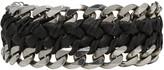 Emanuele Bicocchi Black Braided Leather and Chain Bracelet