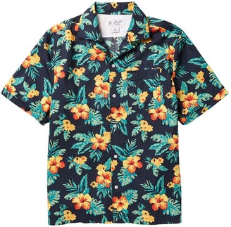 Original Penguin Hibiscus Print Short Sleeve Shirt